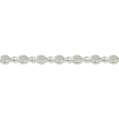 Oval Opal & Diamond Link Bracelet 14k White Gold (9.62ctw)