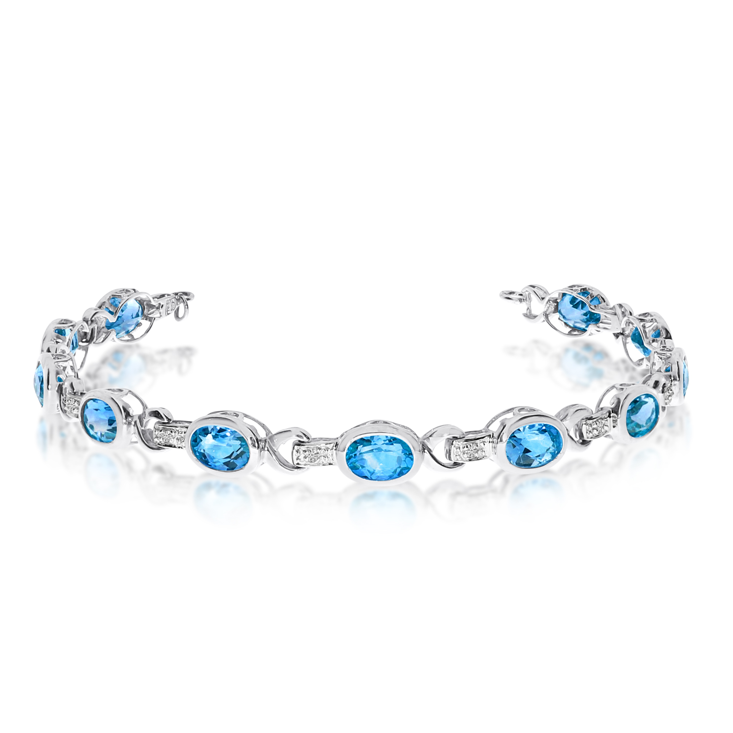 Oval Blue Topaz & Diamond Link Bracelet 14k White Gold (9.62ctw)
