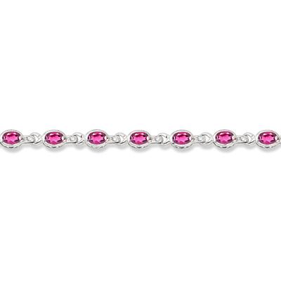 Oval Pink Topaz & Diamond Link Bracelet 14k White Gold (9.62ctw)
