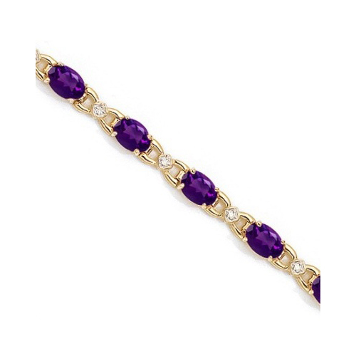 Diamond and Amethyst Bracelet 14k Yellow Gold (10.26 ctw)