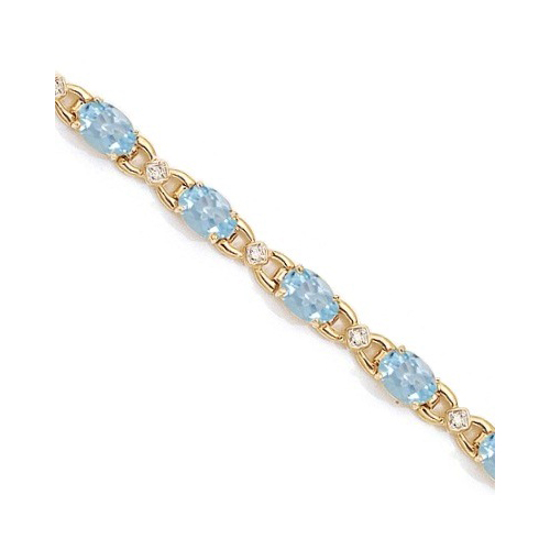 Diamond and Aquamarine Bracelet 14k Yellow Gold (10.26 ctw)