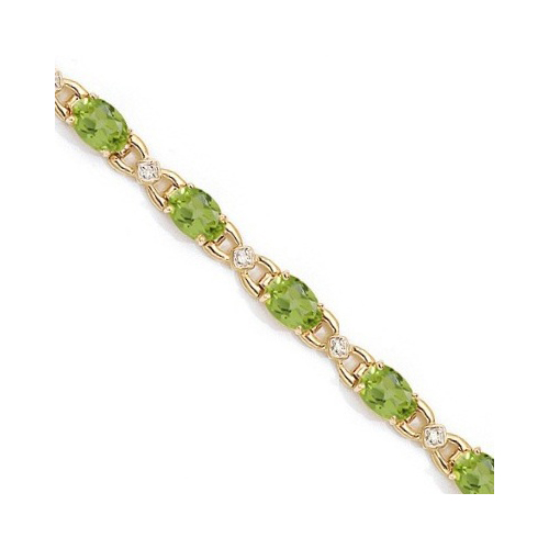 Diamond and Peridot Bracelet 14k Yellow Gold (10.26 ctw)