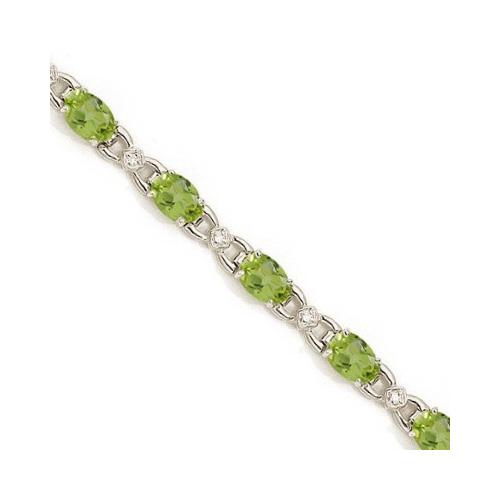 Diamond and Peridot Bracelet 14k White Gold (10.26 ctw)