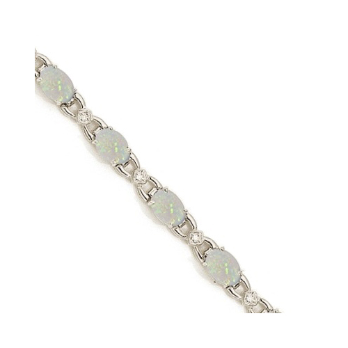 Diamond and Opal Bracelet 14k White Gold (10.26 ctw)