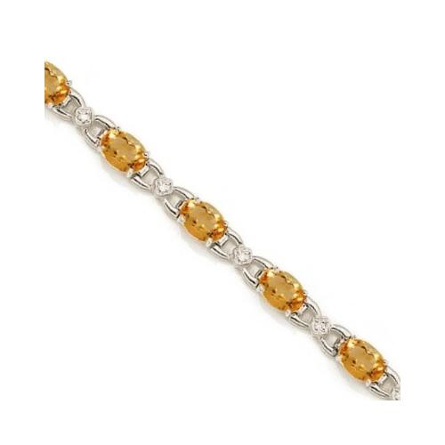 Diamond and Citrine Bracelet 14k White Gold (10.26 ctw)