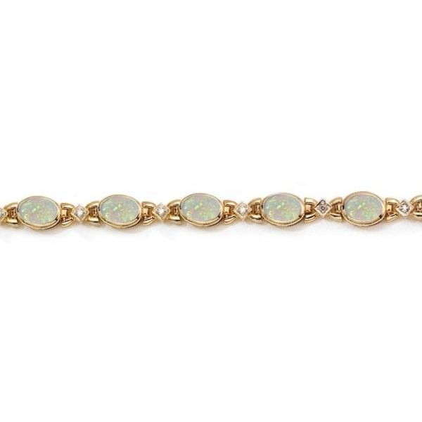 Oval Opal and Diamond Bezel Bracelet in 14K Yellow Gold