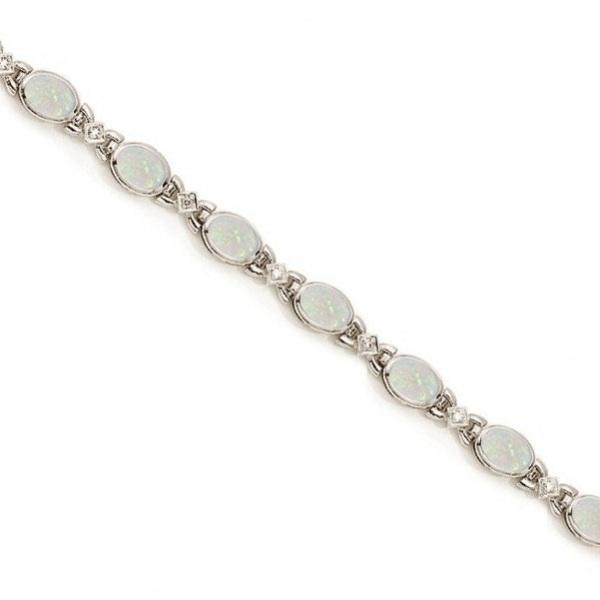 Oval Opal and Diamond Bezel Bracelet in 14K White Gold