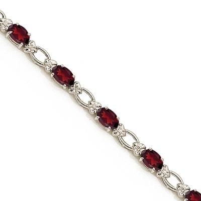 Oval Garnet and Diamond Link Bracelet 14k White Gold (6.72 ctw)