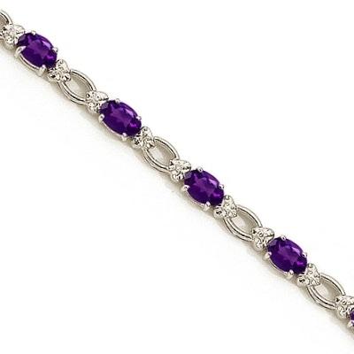 Oval Amethyst and Diamond Link Bracelet 14k White Gold (6.72 ctw)