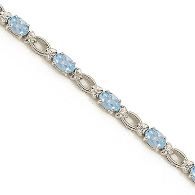 Oval Aquamarine and Diamond Link Bracelet 14k White Gold (6.72 ctw)
