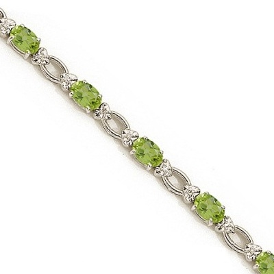 Oval Peridot and Diamond Link Bracelet 14k White Gold (6.72 ctw)