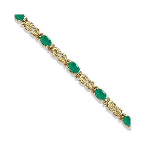 Oval Emerald Love Knot Link Bracelet 14k Yellow Gold (5.50ct)