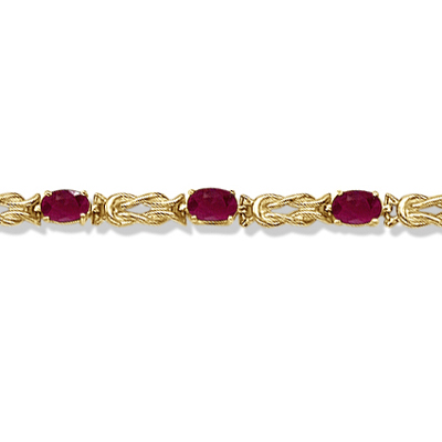 Oval Ruby Love Knot Link Bracelet 14k Yellow Gold (5.50ct)