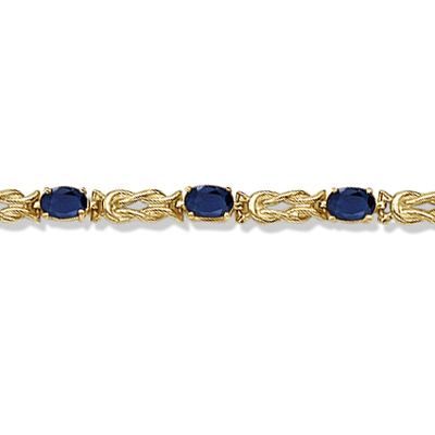 Oval Blue Sapphire Love Knot Link Bracelet 14k Yellow Gold (5.50ct)
