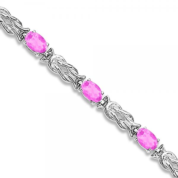 Oval Pink Sapphires Love Knot Link Bracelet 14k White Gold (5.50ct)