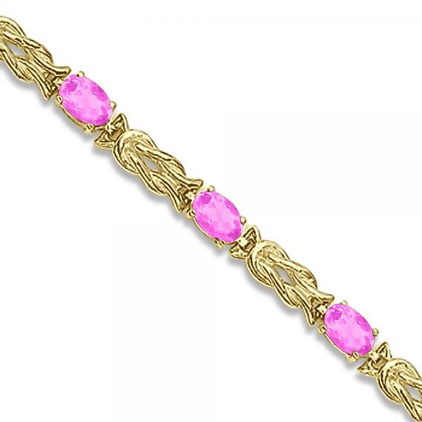 Oval Pink Sapphires Love Knot Link Bracelet 14k Yellow Gold (5.50ct)