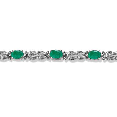 Oval Emerald Love Knot Link Bracelet 14k White Gold (5.50ct)