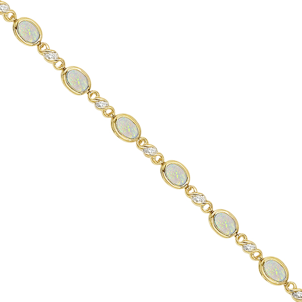 Oval Opal and Diamond Bracelet in 14K Yellow Gold (7x5mm)