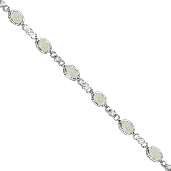 Oval Opal and Diamond Bracelet in 14K White Gold (7x5mm)