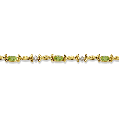 Oval Peridot & Diamond Barb Wire Bracelet 14k Yellow Gold (1.80ctw)