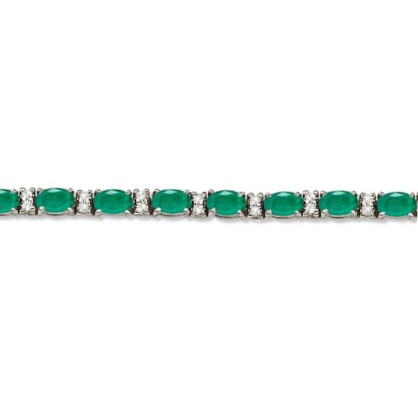 Diamond & Oval Cut Emerald Tennis Bracelet 14k White Gold (9.25ctw)