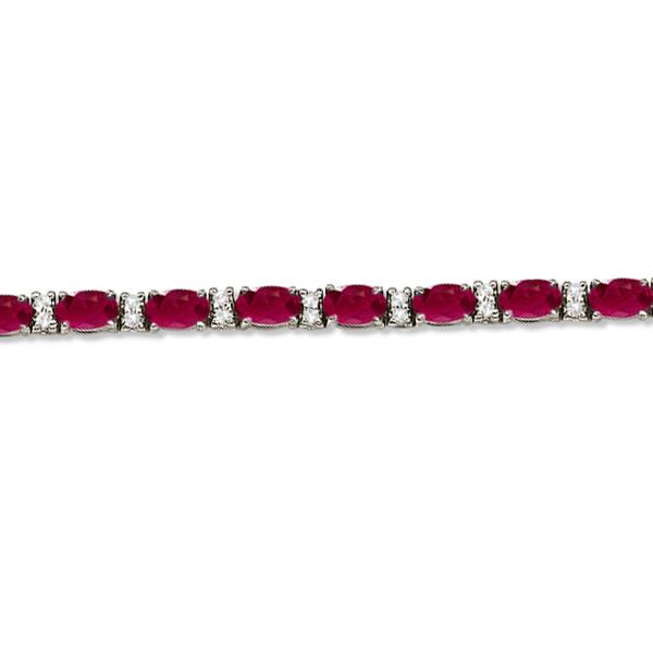 Diamond & Oval Cut Ruby Tennis Bracelet 14k White Gold (9.25ctw)