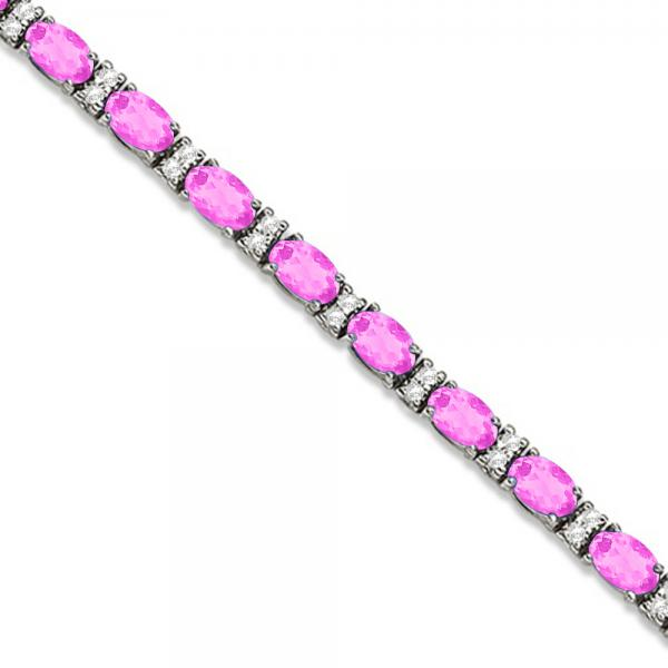 Diamond & Oval Cut Pink Sapphire Tennis Bracelet 14k White Gold (9.25ct)