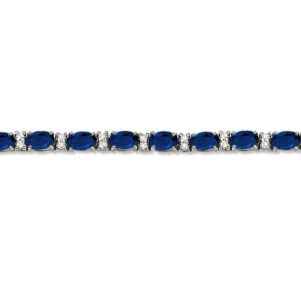 Diamond & Oval Cut Sapphire Tennis Bracelet 14k White Gold (9.25ctw)
