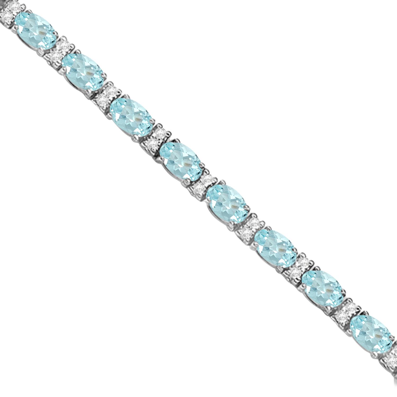 Diamond & Oval Cut Aquamarine Tennis Bracelet 14k White Gold (9.25ct)