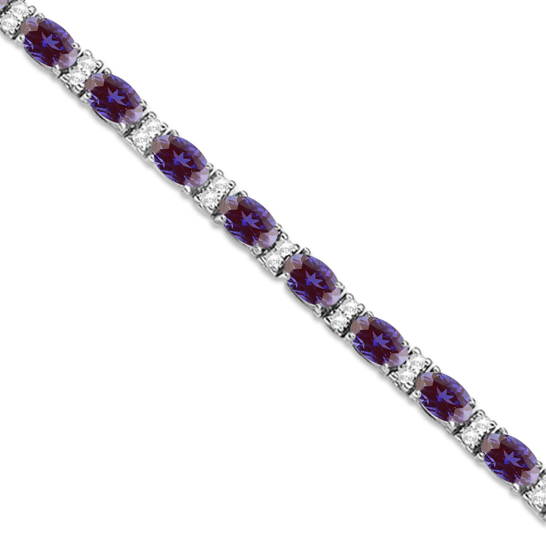 Diamond & Oval Cut Lab Alexandrite Tennis Bracelet 14k White Gold (9.25ct)