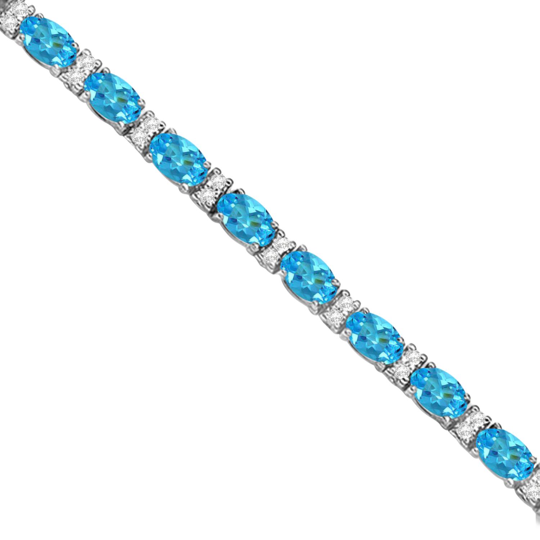 Diamond & Oval Cut Blue Topaz Tennis Bracelet 14k White Gold (9.25ct)