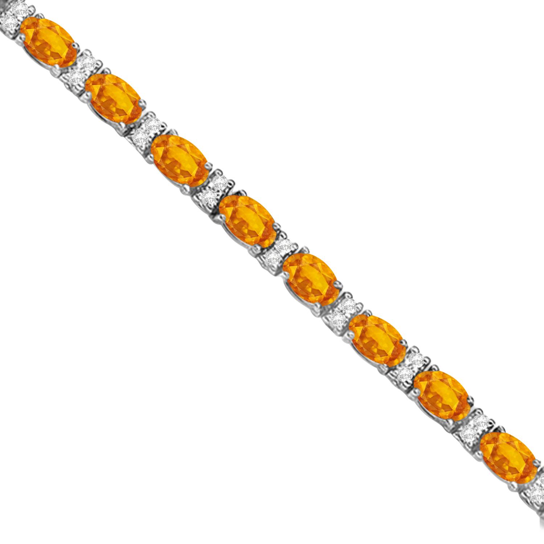 Diamond & Oval Cut Citrine Tennis Bracelet 14k White Gold (9.25ct)