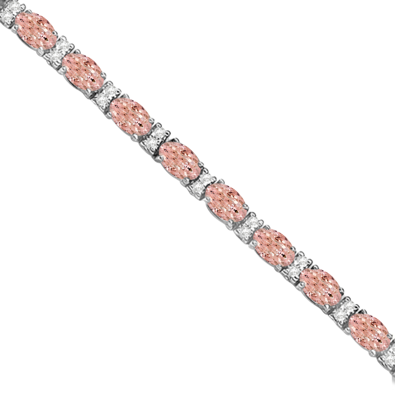 Diamond & Oval Cut Morganite Tennis Bracelet 14k White Gold (9.25ct)