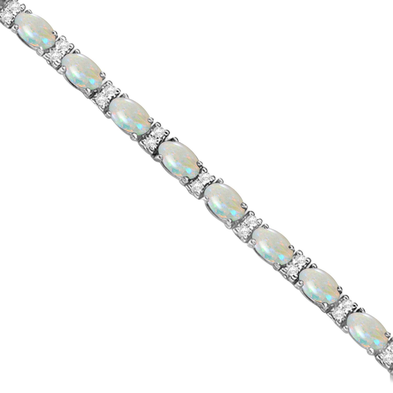Diamond & Oval Cut Opal Tennis Bracelet 14k White Gold (9.25ct)