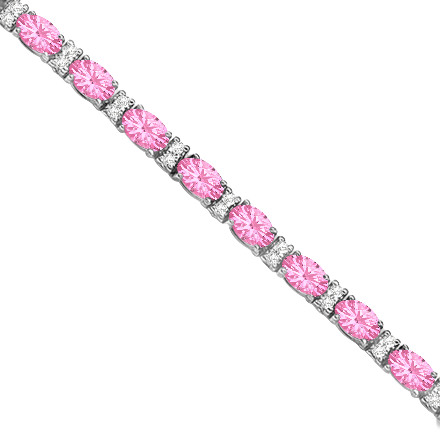 Diamond & Oval Cut Pink Tourmaline Tennis Bracelet 14k W ...