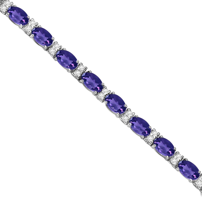 Diamond Amp Oval Cut Tanzanite Tennis Bracelet 14k White