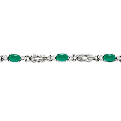 Oval Emerald & Diamond Love Knot Bracelet 14k White Gold (2.05ctw)
