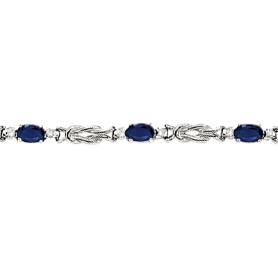 Oval Blue Sapphire & Diamond Love Knot Bracelet 14k White Gold (2.05ctw)