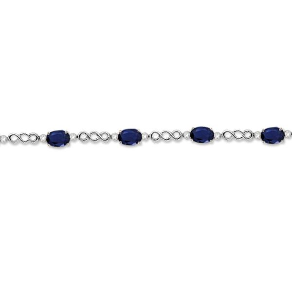 Diamond and Blue Sapphire Bracelet 14k White Gold (5.02ct)