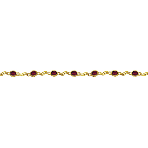 Bezel-Set Oval Garnet Bracelet in 14K Yellow Gold (7x5 mm)