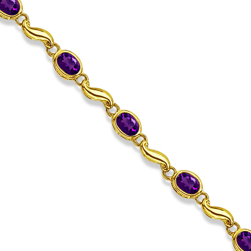 Bezel-Set Oval Amethyst Bracelet in 14K Yellow Gold (7x5 mm)