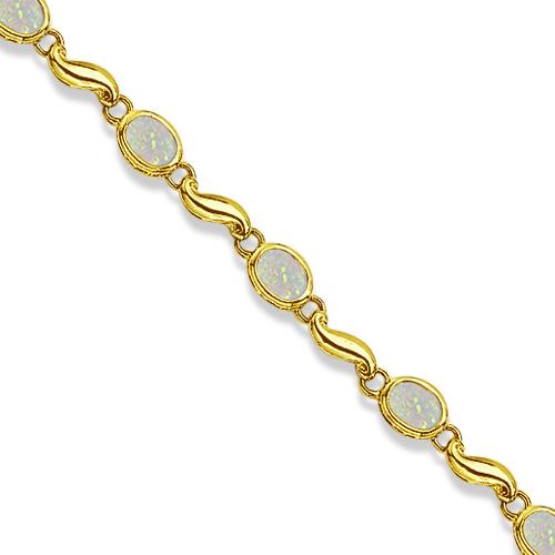 Bezel-Set Oval Opal Bracelet in 14K Yellow Gold (7x5 mm)