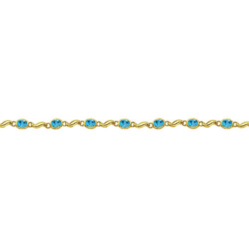 Bezel-Set Oval Blue Topaz Bracelet in 14K Yellow Gold (7x5 mm)