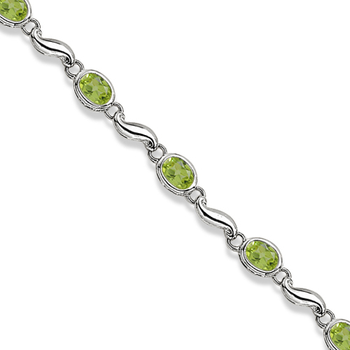 Bezel-Set Oval Peridot Bracelet in 14K White Gold (7x5 mm)