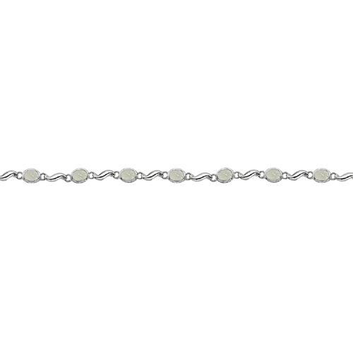 Bezel-Set Oval Opal Bracelet in 14K White Gold (7x5 mm)