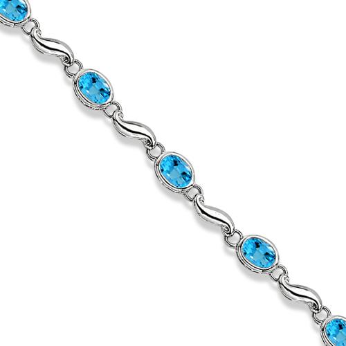 Bezel-Set Oval Blue Topaz Bracelet in 14K White Gold (7x5 mm)