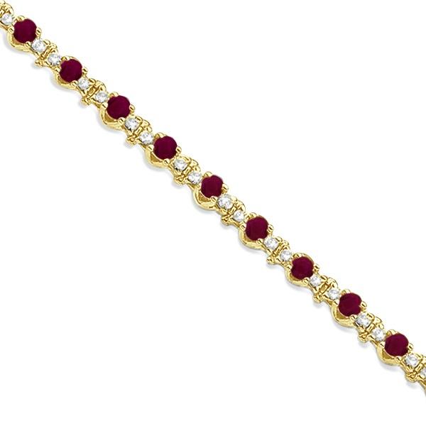 Round Ruby & Diamond Tennis Bracelet 14k Yellow Gold (2.50ct)