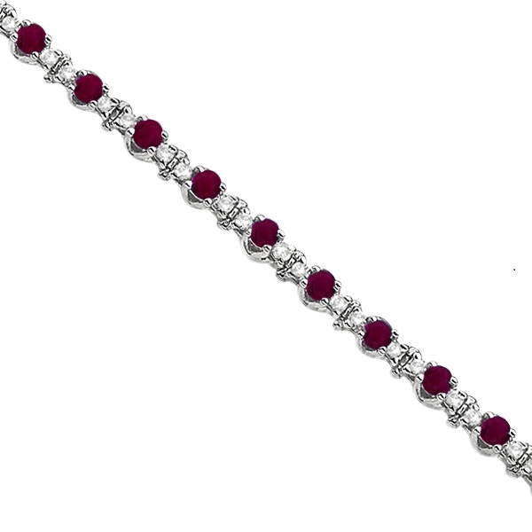 Round Ruby & Diamond Tennis Bracelet 14k White Gold (2.50ct)