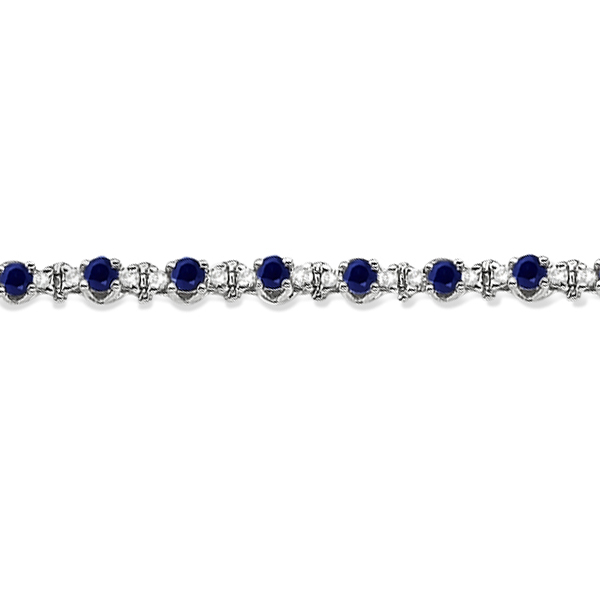 Round Blue Sapphire & Diamond Tennis Bracelet 14k White Gold (2.50ct)