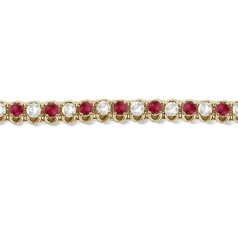 Round Ruby & Diamond Tennis Bracelet 14k Yellow Gold (4.75ct)